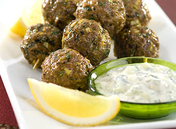 Spicy lamb koftas with mango and yogurt dip